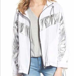 BlankNYC Metallic Stripe Windbreaker Jacket